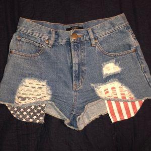 Forever21 American Flag High Waist Jean Shorts